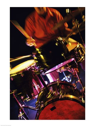 Framed Young Man Playing The Drums Closeup Print