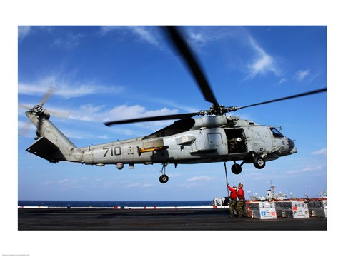 Framed Military helicopter on the deck of a aircraft carrier, USS Kitty Hawk, December 6, 2006 Print