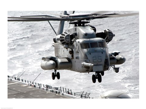 Framed CH-53E Super Stallion helicopter takes off from the amphibious assault ship USS Makin Island, Pacific Ocean Print