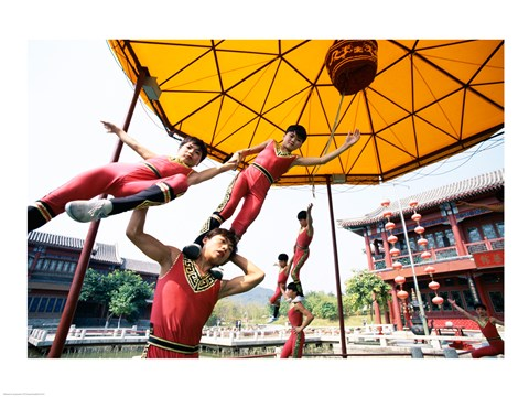 Framed Group of children performing acrobatics, Shanghai, China Print