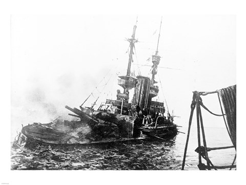 Framed HMS Irresistible Abandoned March 18,1915 Print