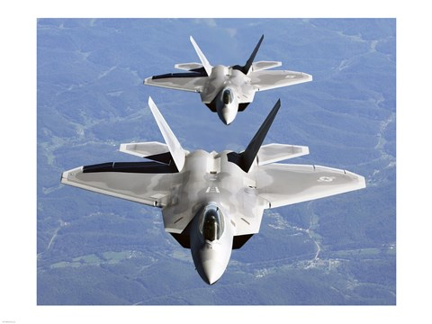 Framed Two F-22A Raptor in Column Flight Print