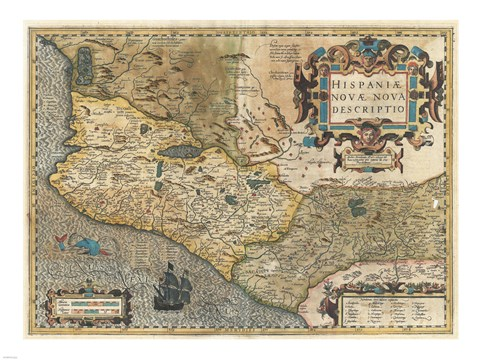 Framed 1606 Hondius and Mercator Map of Mexico Print