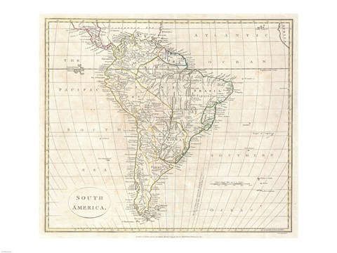 Framed 1799 Far Clement Cruttwell Map of South America Print