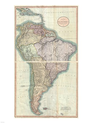 Framed 1807 Close up Cary Map of South America Print