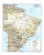 Brazil Map  Fine Art Print