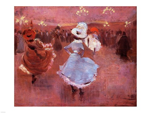 Framed Jean-Louis Forain Can-Can Dancers Print