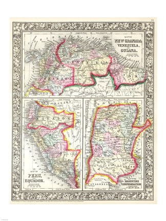 Framed 1860 Mitchell's Map of Peru, Ecuador, Venezuela, Columbia and Argentina Print