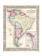 1864 Mitchell Map of Brazil, Bolivia and Chili
