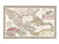1866 Mitchell Map of Mexico and the West Indies