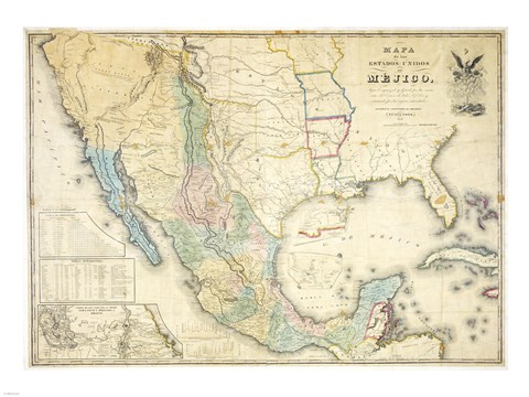 Framed Map of Mexico 1847 Print