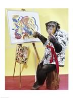 Monkey Artist  Fine Art Print