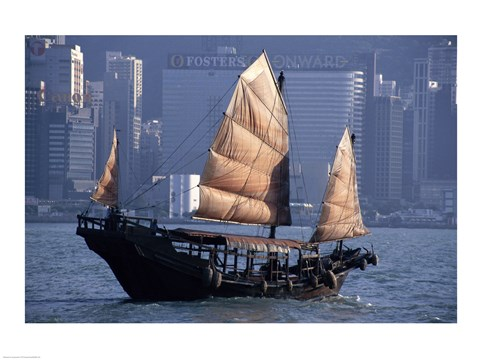 Framed Chinese Junk sailing in the sea, Hong Kong Harbor, Hong Kong, China Print