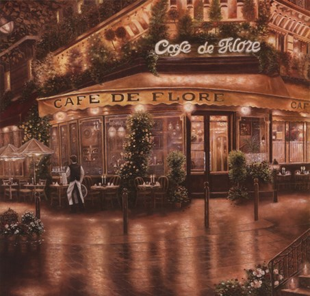 Framed Cafe De Flore Print
