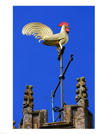Framed Church Tower Weathervane Print