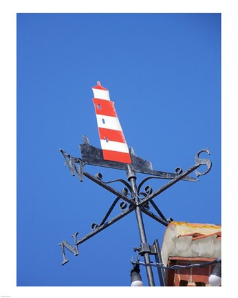 Framed Lighthouse Weathervane Print