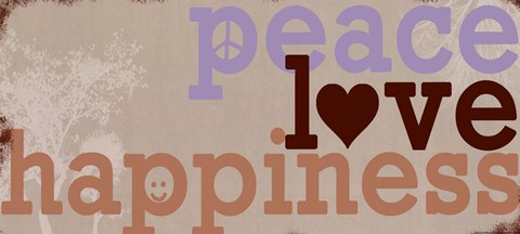 Framed Peace Love Happiness Print