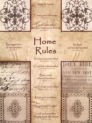 Framed Home Rules Cross Print