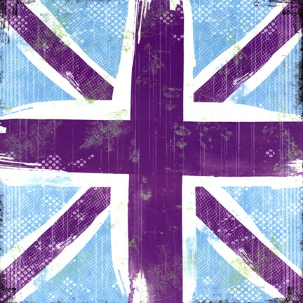 Framed Union Jack Purple And Blue Print