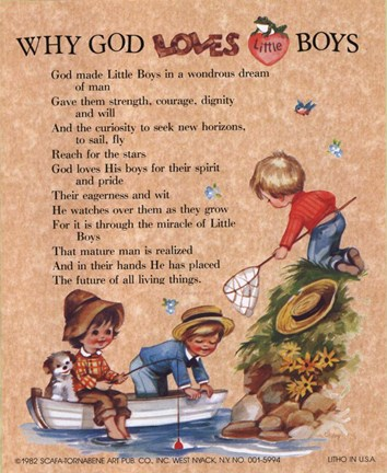 Why God Loves Little Boys Fine Art Print By J B Grant At