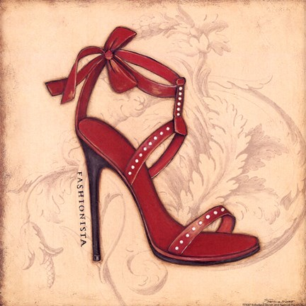Framed Fashionista Red Heel Print