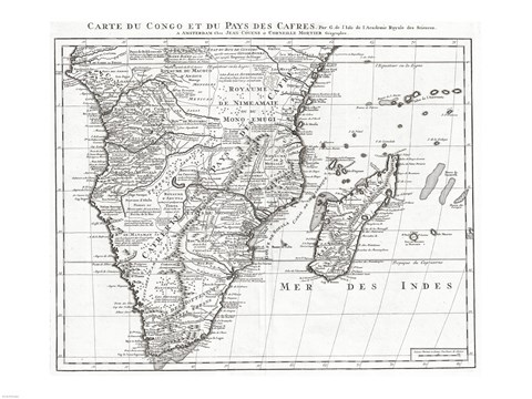 Framed 1730 Covens and Mortier Map of Southern Africa Print