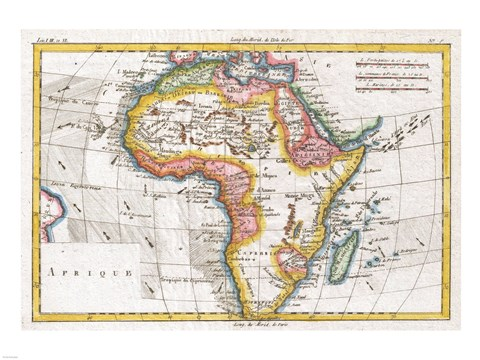 Framed 1780 Raynal and Bonne Map of Africa Print