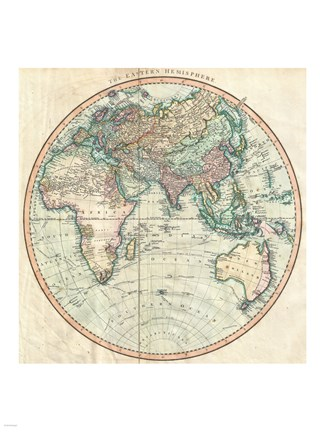 Framed 1801 Cary Map of the Eastern Hemisphere Print