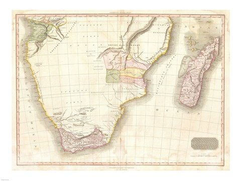 Framed 1818 Pinkerton Map of Southern Africa Print