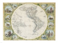 1850 Tallis Map of the Western Hemisphere