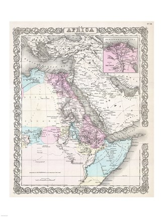 Framed 1855 Colton Map of Northeastern Africa Print