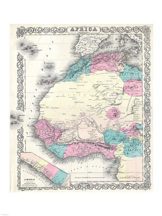 Framed 1855 Colton Map of Western Africa Print