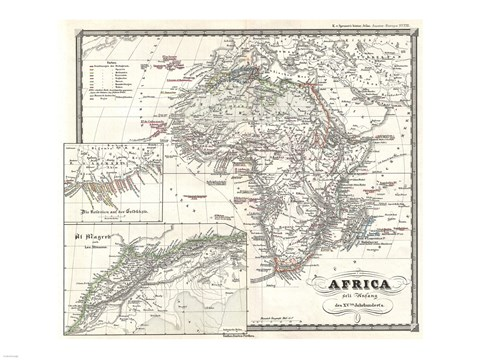 Framed 1855 Spruner Map of Africa Since the Beginning of the 15th Century Print