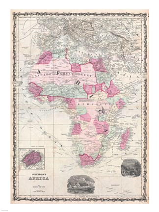 Framed 1862 Johnson Map of Africa Print