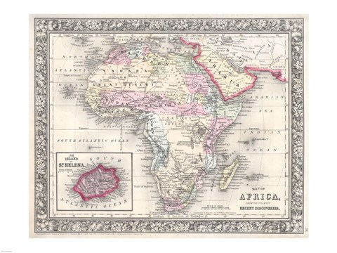 Framed 1864 Mitchell Map of Africa Print