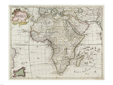Framed Map of Africa 1745 Print
