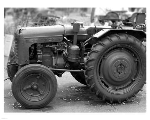 Framed Tractor (black & White) Print