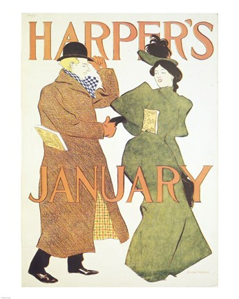Framed Brooklyn Museum Harper's Poster January 1895  Edward Penfield Print