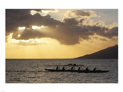 Framed Canoers Paddling to the Dock at Kalama Park Print