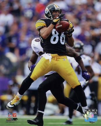 Framed Hines Ward Football Reception Action Print