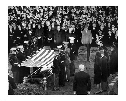 Framed Honor Guard Prepares to Fold Flag Over JFK Casket, 25 November 1963 Print