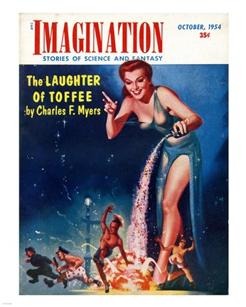 Framed Imagination Cover October 1954 Print
