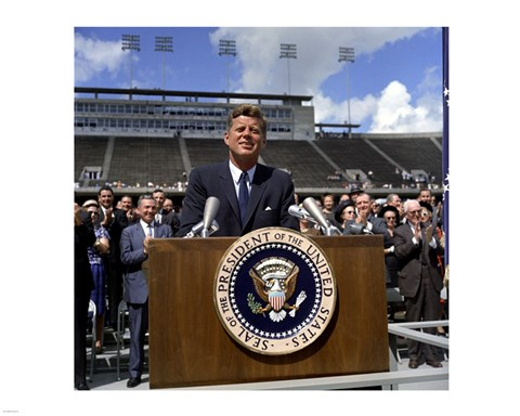 Framed JFK at Rice University Print