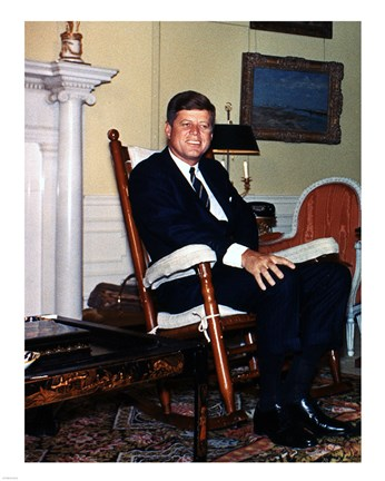 Framed JFK in Yellow Oval Room 1962 Print