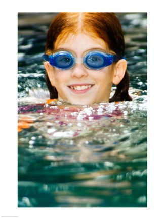Framed Close-up of a girl in a swimming pool Print