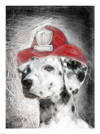 Firefighter Dalmation Fine Art Print by Unknown at