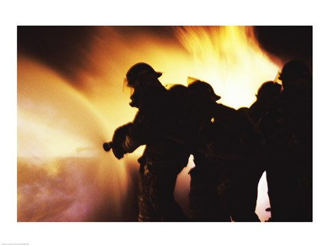 Framed Firefighters Extinguishing A Fire With Water Print