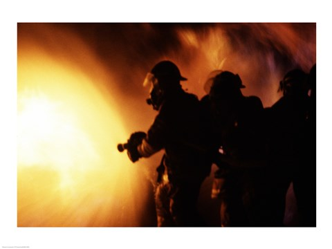 Framed Firefighters during a rescue operation Print