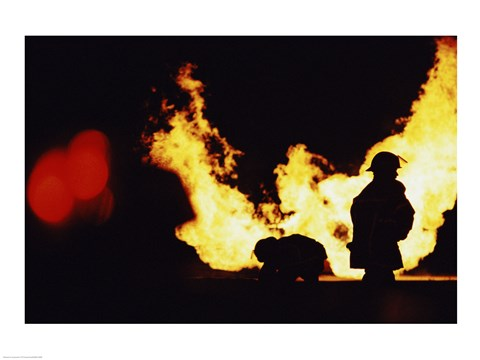 Framed Firefighters In front Of Flames Extinguishing A Fire Print