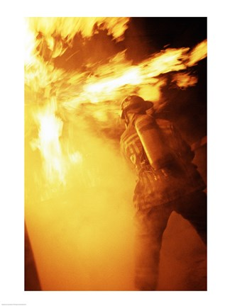 Framed Fireman fighting with fire flames Print